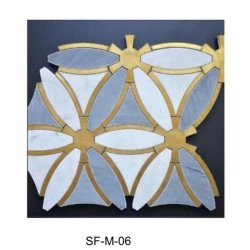 Waterjet White Blue Mosaic In Marmo Sf-M-006 Piastrelle In Rame Per Soffitto A Parete Da Pavimento Interno