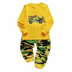De Kledingstukken van de Baby van de Jonge geitjes van de peuter kleedt de Uitrustingen van de Broek van de Bovenkanten van het Af:drukken van de Auto's van het Beeldverhaal van Pyjama's naar huis Geplaatst Nachtkleding