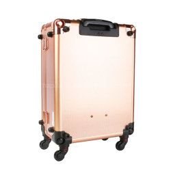 Maquillaje Tren Maleta con luces incorporada y 3 colores de luz Rolling Travel Organizador cosméticos artista profesional Trolley oro rosa