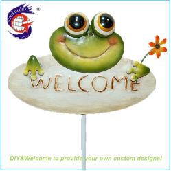 Signe de bienvenue de la grenouille en métal Bâtonnets de décoration de jardin