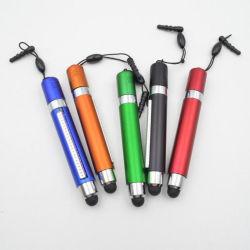Corta la bandera de plástico con pantalla táctil Stylus Estudiante de suministros de oficina Papelería logotipo impreso Bolígrafo de plástico de colores Regalo promocional de la pluma (ZH-5108)