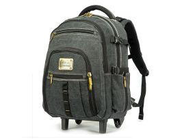 動かされたトロリー倍の肩のキャンバスの通気性の出張旅行のコンピュータのラップトップの荷物のバックパック袋(CY3678)