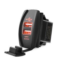 De Lader van de auto USB - Dubbele LEIDEN van de Contactdoos van de Macht USB Licht voor het Algemene begrip van het Comité van de Schakelaar van de Tuimelschakelaar