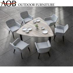 Moderna chinesa Home Piscina Jardim Café Cadeira de vime Vime Teca Triângulo superior do conjunto de mesa Restaurante Alumínio mobiliário de jantar