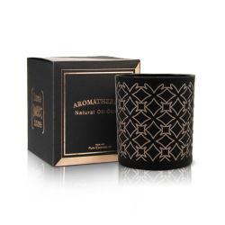 Populaires personnalisé de Parfum Black Candle Pot bougie parfumée de verre de parfum de luxe