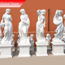 Estatua de piedra tallada a mano personalizadas cuatro esculturas de mármol temporada