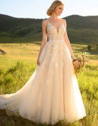 스파게티 결혼 예복 소매 없는 에이라인 신부 웨딩 드레스 Wdo87