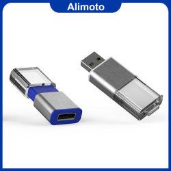 Gostaria de cristal sem tampa de acrilico Unidade Flash USB com cor de luz LED