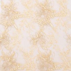Оптовая торговля цветок на заводе пайетками свадебный кружевной ткани Mesh Net кружевной ткани для одежды