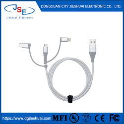 USB-kabel voor multi-oplader 2A 10 cm nylon gevlochten aluminium connector 3 In1 Keychain Design voor Type-C Micro Lighting Mobile