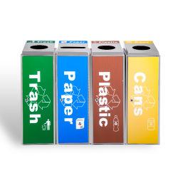 Il colore di combinazione degli ss ha codificato la pattumiera amichevole di riciclaggio separata di Eco degli scompartimenti dello scomparto di riciclaggio dello scomparto residuo degli scomparti di immondizia 4