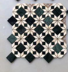 Weiße und grüne unregelmäßige Kunst-Marmor-Mosaik-Fliese für Badezimmer und Küche Backsplash