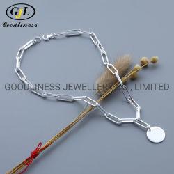 قطعة فضية دقيقة مجوهرات ورق مشبك سلسلة عقد قلادة مجوهرات الأزياء