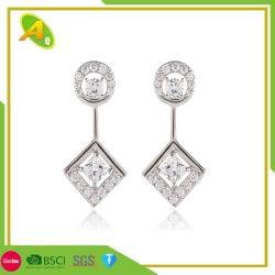 La figura antica del Rhombus del commercio all'ingrosso di stile ciondola l'orecchino di goccia con l'orecchino dei monili bordato chip Amethyst naturali del cristallo di modo del diamante (15)