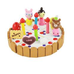 Formazione iniziale che cucina gli insiemi di legno della torta del giocattolo di compleanno della cucina per i bambini