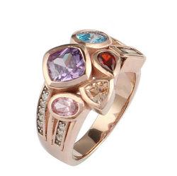 Роуз Gold красочное покрытие CZ S925 из нержавеющей серебро ювелирные изделия кольцо