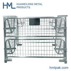 L'entrepôt d'empilage de pliage sur le fil métallique de la palette des cages en acier pour le commerce de gros