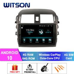 نظام تحديد المواقع العالمي للسيارة Witson Android 10 للسيارة التنقل لـ Toyota 2008-2013 Corolla ذاكرة RAM سعة 4 جيجابايت شاشة فلاش كبيرة سعة 64 جيجابايت في مشغل أقراص DVD للسيارة