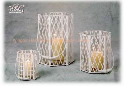 Parafuso Sextavado Metal branco Furacão Lantern suporte para velas