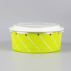 1000ml descartáveis personalizados Tira Taça de salada de papel de revestimento de PE com tampa de plástico