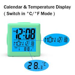 Oferta promocional para as crianças com temperatura de luz de fundo do relógio de mesa