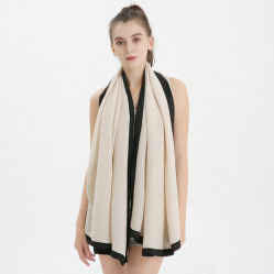 Mode Solid Color Herfst Winter sjaal warm Pleated Hijiab gekreukeld Zwarte bindsjaal van twill Cotton