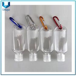 La mini bottiglia del prodotto disinfettante trasparente della mano con Carabiner in 30ml, 50ml, 60ml per l'allievo del banco trasporta