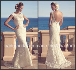 스쿠프 네크라인 비치 컨트리 신부 가운 레이스 백리스 웨딩 드레스 Cab2183