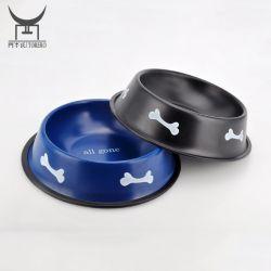 Acero inoxidable adorable mascota de viaje imprimir hueso Bowl para perro perro grabados decorativos de color el tazón de agua