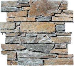 Rusty apilados de cuarzo de repisa de la cultura de la pared de piedra Panel piedra