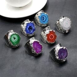 Anello di cristallo del Irregular dell'argento di placcatura dell'anello dell'agata di Geode Sun del girasole di pietra naturale all'ingrosso delle agate