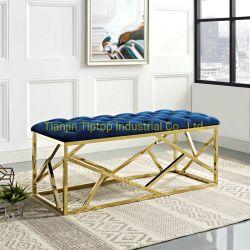 Hotel moderno mobiliário de aço dourado de veludo de tecido de banco de Cama