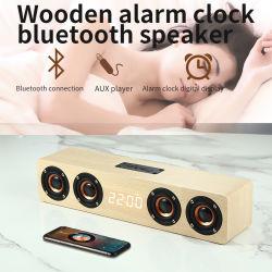 Digital Bluetooth Despertador Falante de madeira, Suporte levou tempo, TF Card, 3,5mm em AUX, USB Disk, tocar no botão