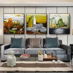 山及び川3Dの景色の金属のハンドメイドの油絵の現代内壁の芸術の装飾