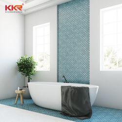 Diseño moderno forma oval baño blanco empapado de superficie sólida bañera