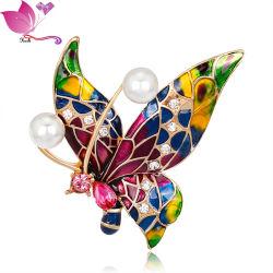 Fashion Rhinestone Bijoux Vintage Brooch papillon en alliage d'émail avec goupilles de sécurité
