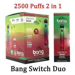 Bang XXL Switch Duo 일회용 Vapes 펜 장치 포드 E 담배 키트 2500 퍼프 7ml 1100mAh 6% 오일