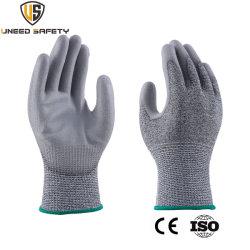CE Hppe naadloze mechanische veiligheid werken PU-snijproof Antisnijbestendige handschoen