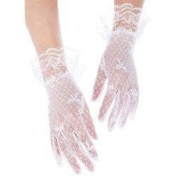 As mulheres Lace protecção UV curto verão decoração Bowknot luvas de casamento