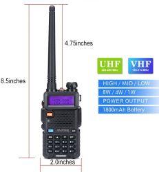 Hoge Macht van de Reeks van Baofeng de Radio uv-5rh Bidirectionele Radio van de Band van 8 Watts de Dubbele voor het Kamperen van de Wandeling het Met een sleeplijn vissen (Nieuwere Versie van Baofeng uv-5R)
