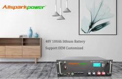 Pacchetto della batteria di litio di memoria del sistema di energia solare di tempi 80%Dod Ess LiFePO4 di Allsparkpower 48V 50ah 75ah 100ah >6000