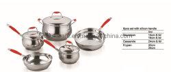 耐熱性シリコーンのハンドルが付いている南アメリカの市場のステンレス鋼のカセロールの鍋のための高品質のハンドル
