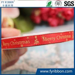 De Linten van Petersham van het Lint van Grosgrain van de Polyester van Kerstmis van de Druk van de inkt
