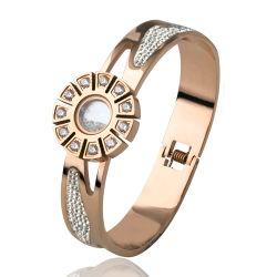 Bijouterie de fantaisie Disque en acier inoxydable charme Bangle Bracelet avec Diamond