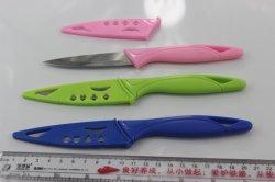 着色されたプラスチックハンドルのステンレス鋼の皮をむくナイフ、プラスチック外装が付いているフルーツのナイフ