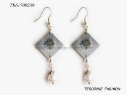 Glass Jewelry Earring를 가진 최신 Sale Fashion Popular Special Design Curved Shell Pearl