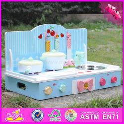 2017 Comercio al por mayor juego de madera cocinas para niños pequeños, la nueva moda de madera azul jugar cocinas para niños pequeños W10c236