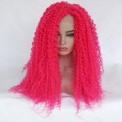 جبهة أمانتيل شعرية طويلة باللون الوردي الطبيعي الأسود الأفريقي ويغز