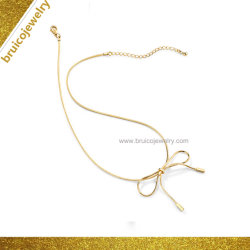 Joyería simple Bow-Knot Aleación de diseño de joyas chapado en oro 18K Collar Gargantilla de la cadena para la Mujer