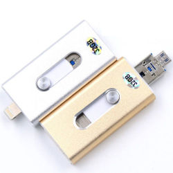 3 in 1 USB Flash Drive Memory Stick Metal voor iPhone Android Windows